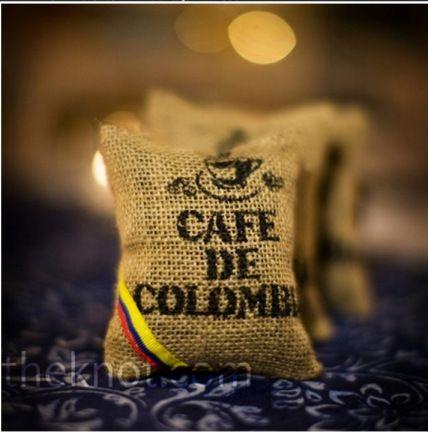 Colombian coffee sac wedding favor