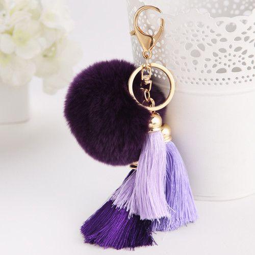 Free shipping 2015 Bag Accessories Tassel Round Fur Colorful Key Chain Fashion Women Key Hoder Line