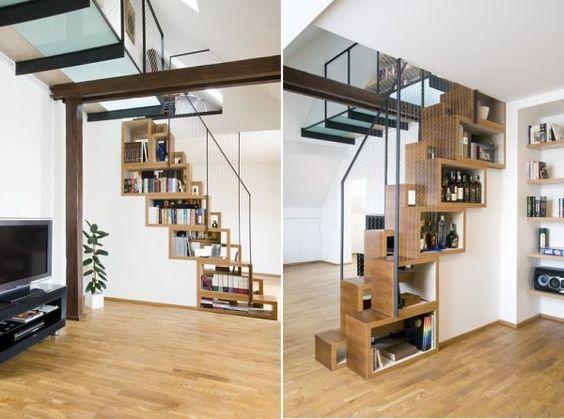 raumspartreppe minimalistisches design integrierte-bücherregale