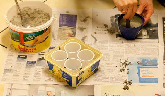 Selbstgemachter Adventskranz aus Beton! DIY aus Joghurtbechern