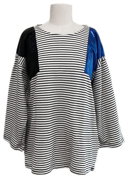 Metallic Inserts Striped T-shirt (2 Colors)  | Fall & Winter | Dolly & Molly | www.dollymolly.com | #Tee #sleep #party #costume #design #art #blue #black #stylist #designer