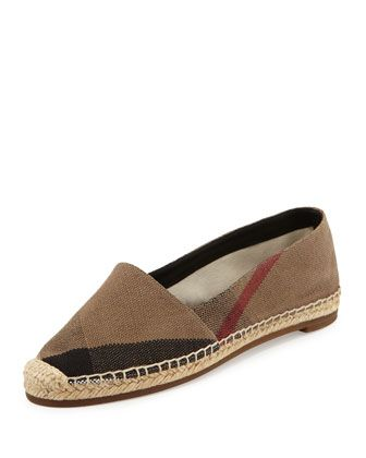 Check Canvas Flat Espadrille, Classic Check by Burberry at Neiman Marcus.