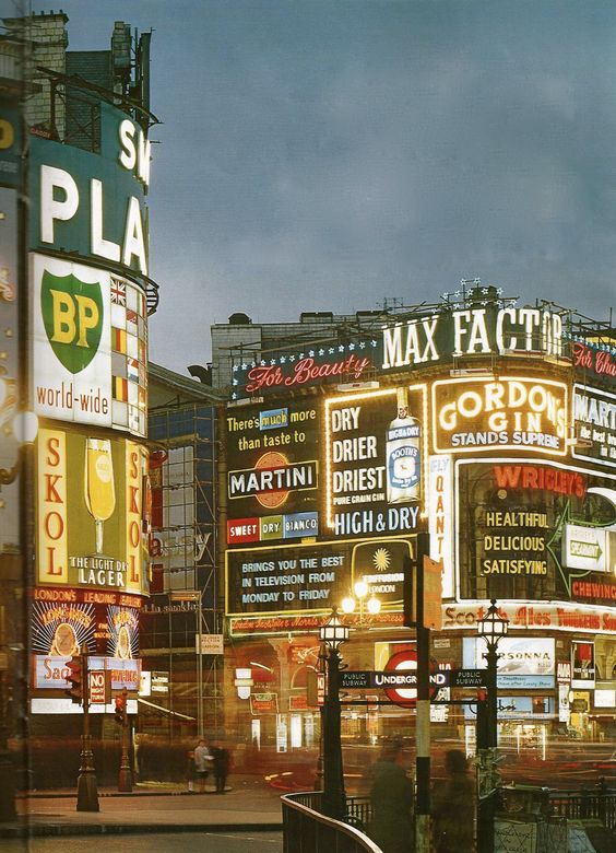 Piccadilly Circus, London, in a photograph from the 1960's, via Taschen