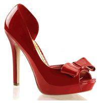 Lumina-32 Red Patent Platform Peep Toe d'Orsay Pumps with Asymmetrical Topline & Looped Bow Detail at Toe