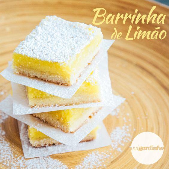 Deliciosas barras de limão com casquinha e cobertura cremosa!