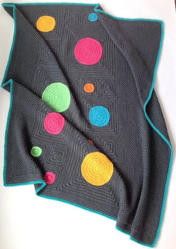 Patrón de manta de ganchillo moderno Squircles