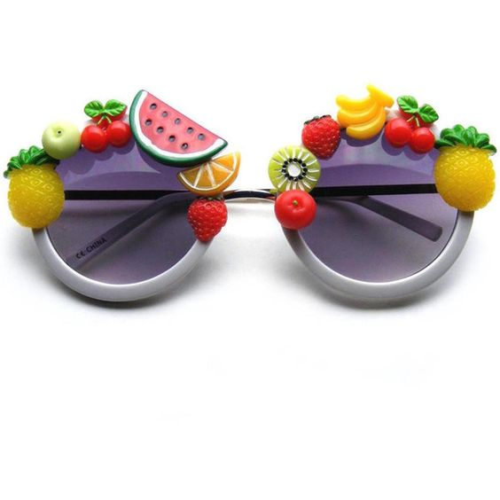 Super Cute Novelty Tutti Frutti Fun Round Sunglasses ($11) ❤ liked on Polyvore featuring accessories, eyewear, sunglasses, rounded glasses, circle sunglasses, circular glasses, round circle sunglasses and round frame sunglasses