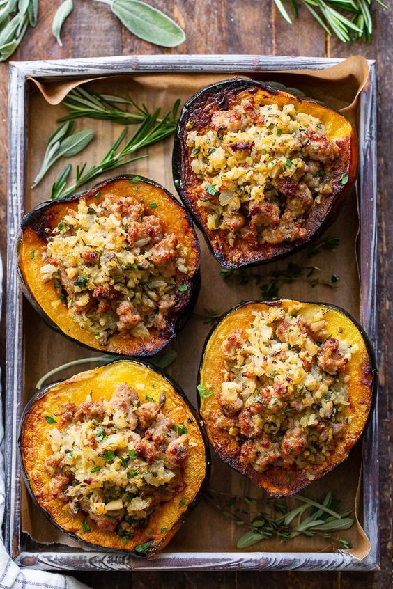 "Stuffed Acorn Squash with Sausage and ""Rice"" (Whole30, Paleo)"