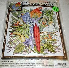 "Design Works Counted Cross Stitch Kit Parrots BIRDS OF PARADISE 16"" x 17"""