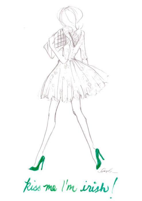 Kiss me, I'm Irish!: Kiss Me, St Patrick S, I M Irish, Fashion Sketches, St. Patrick'S Day, Fashion Illustration, St Patricks