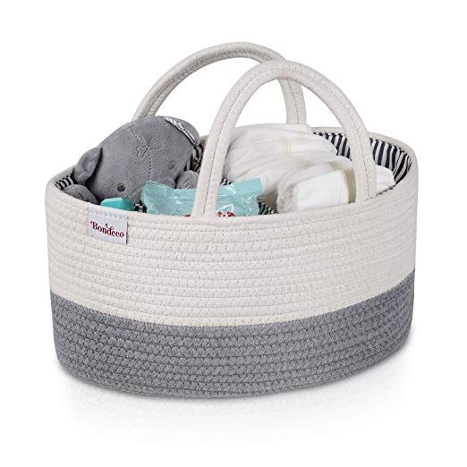 Baby Diaper Caddy Organizer-Baby Basket Bin with Removable Divider Portable Tote Bag for Changing Table /& Cars,Cotton Rope Basket Baby Shower Basket