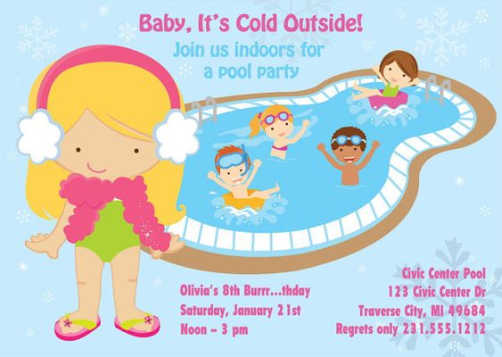 Winter Pool Party Invitation Indoor Pool Party Birthday