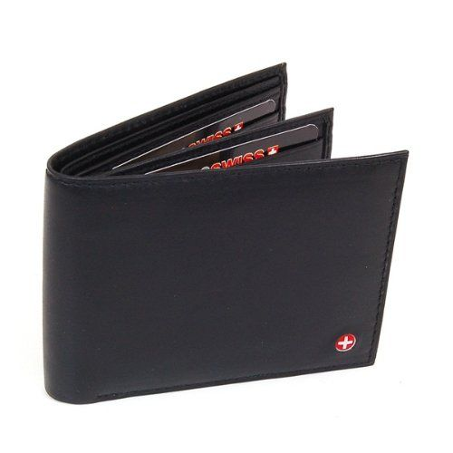 Men's Leather Wallet - Euro Traveler style with Center Flip ID Window - Black Comes in a Gift Bag - By Alpine Swiss