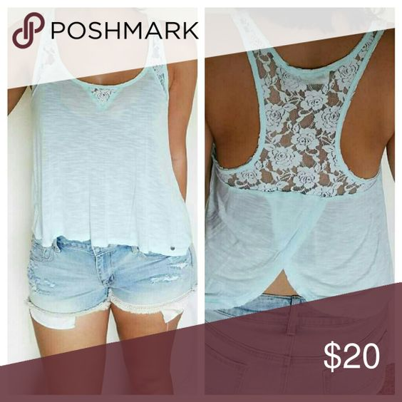 NWOT Open Back Lace Detailing Razorback Tank New without tags razorback tank with lace detailing on the front and back. Open back top. Semi-sheer fabric. Light blue/ turquoise color. No rips. No stains. True to size. Abercrombie & Fitch Tops Tank Tops