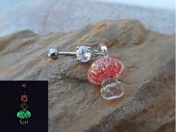Glow In the Dark Red Glass Mushroom Belly Ring Body Jewelry 14ga