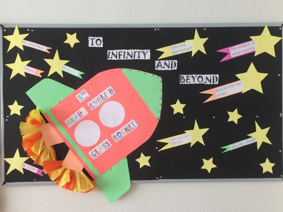 To infinity and beyond. 5th grade. English bulletin boards. Welcome back to school ideas.