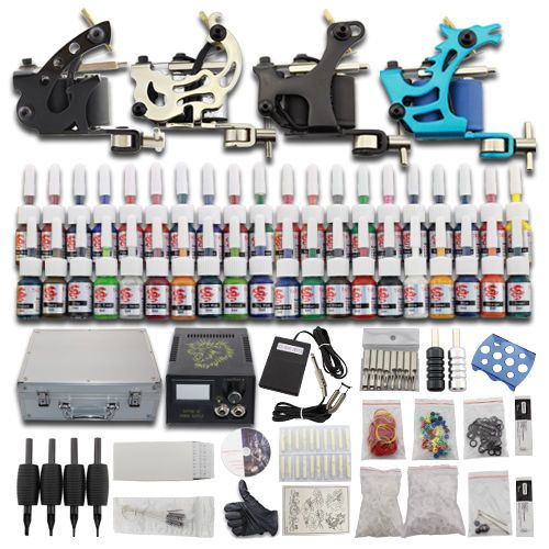 Beginner Tattoo Kit 4 Machine Gun 40 Inks Complete Set Carrying Case 50 Needles
