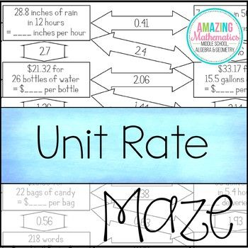 Unit Rates Worksheet Maze Activity Unit Rate Middle School Math 7th Grade Math Worksheets on unit rates