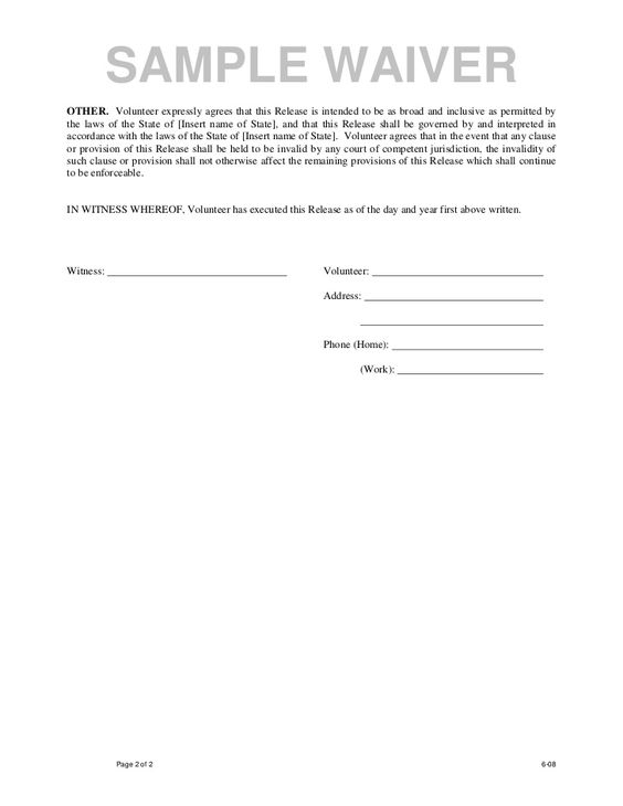 Doc400518 Waiver and Release Form Template Release of – Legal Waiver Form Templates