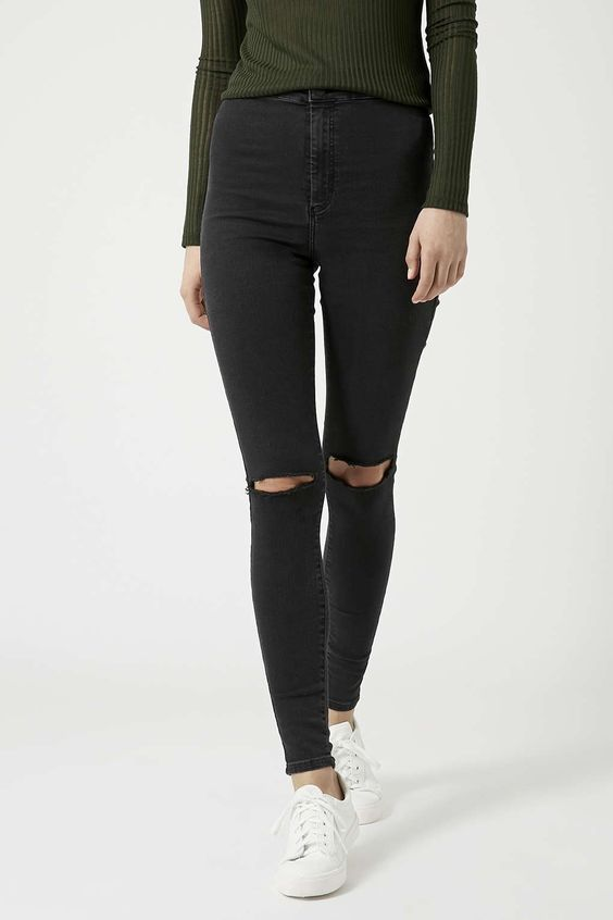 MOTO Washed Black Busted Knee Joni Jeans | Pinterest | Products ...