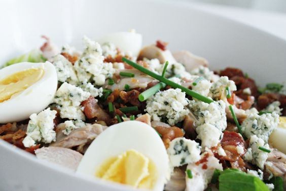 Cobb Salad   (remember EAT COBB: Egg, Avocado, Tomato, Chicken, Onion, Bacon, Blue cheese)