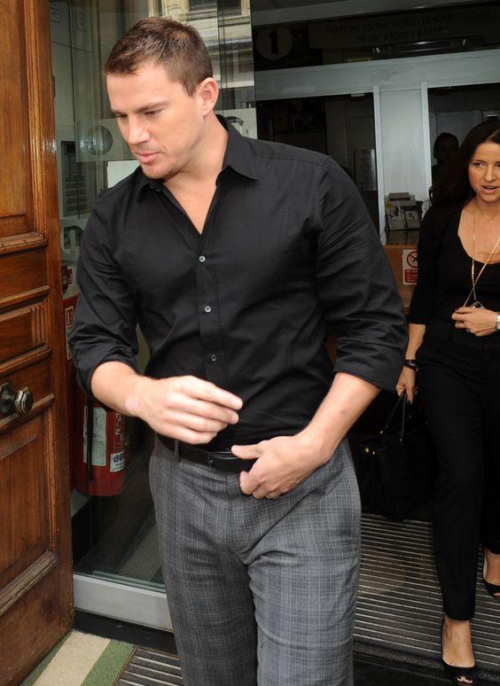 Channing tatum grey pants black shirt men s fashion for Gray dress shirt black pants