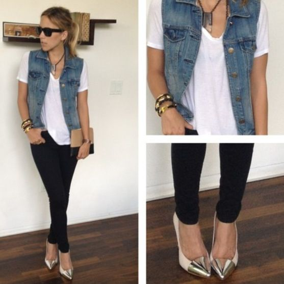 Classic look for a basic white tee, black skinny pants and a jean vest