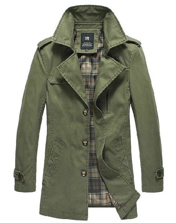 Business casual military Style retro man Long Jacket Coat Spring ...