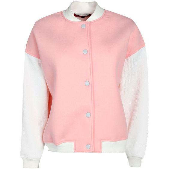 Tarah Neoprene Bomber Jacket ($17) ❤ liked on Polyvore featuring outerwear, jackets, tops, coats & jackets, tarah, blouson jacket, polartec jacket, pink bomber jacket y neoprene life jackets