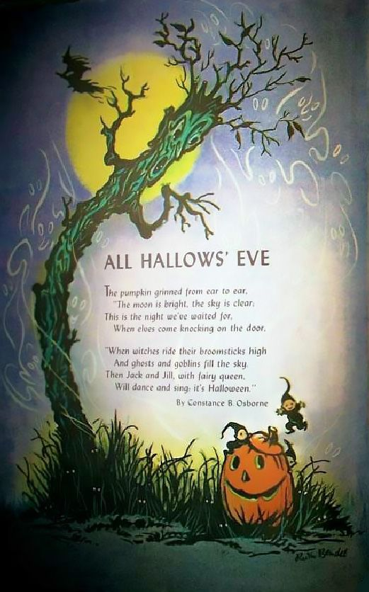 All Hallows Eve The Pumpkin Grinned From Ear To Ear The Moon Is Bright The Sky Is Clear Vintage Halloween Cards Vintage Halloween Photos Halloween Poems
