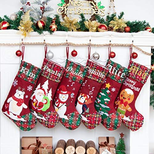LUBOTS 1 Ps Beige 18 Dog Christmas Stockings Bone Pet Plaid//Rustic//Farmhouse//Country Canvas Fireplace Hanging Handmade Xmas Stockings Decorations for Family Holiday Season Decor #4