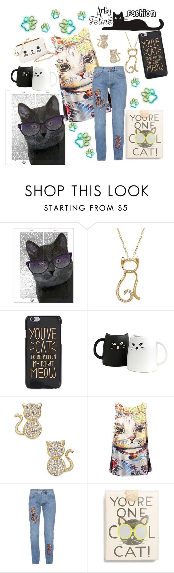 """""""artsy cat"""" by amanda-p-s ❤ liked on Polyvore featuring FabFunky, Aries and Rifle Paper Co"""