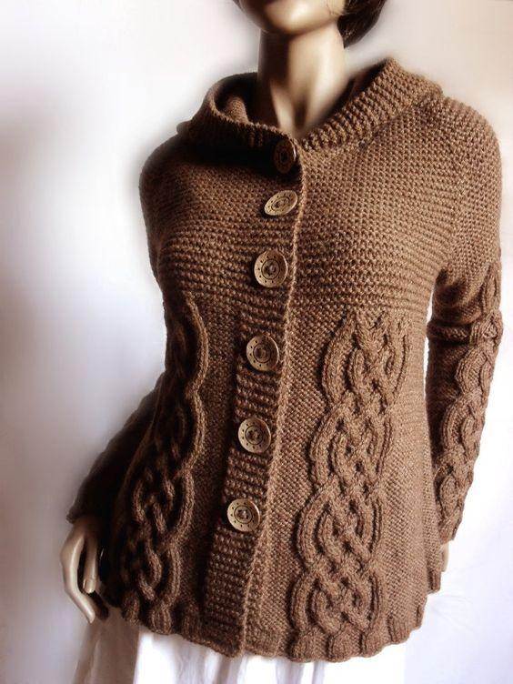 Handknit Sweater Women Winter Fashion Cable Knit sweater Hooded Coat Wool Cardigan Pilland Alpaca sweater Hoodie. $245.00, via Etsy.