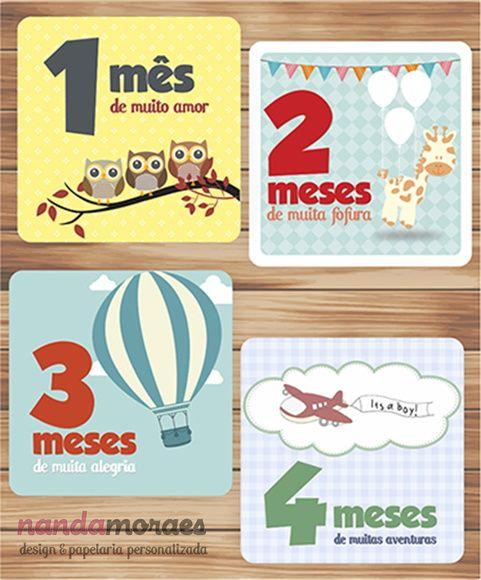 Kit para Mêsversário com adesivo ou plaquinha para fotos