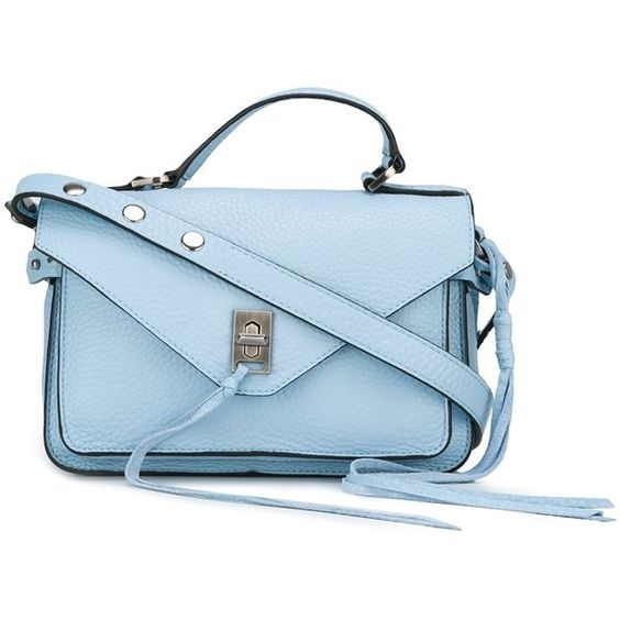 Rebecca Minkoff 'Small Darren' crossbody bag (1,295 HKD) ❤ liked on Polyvore featuring bags, handbags, shoulder bags, blue, purses, blue leather purse, leather shoulder handbags, blue leather handbags, crossbody purses and leather handbags