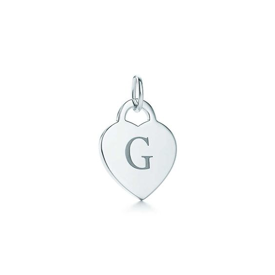 """Alphabet heart tag letter """"G"""" charm in sterling silver.  Tiffany & Co."""
