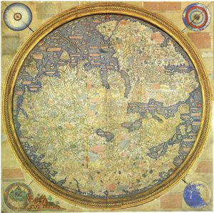 """Fra Mauro World Map """"...points south because 15th-century compasses were south-pointing. It shows the Portuguese discoveries in Africa and questioned the authority of medieval and classical sources. Intended for display in Venice, it emphasizes the feats of Marco Polo. The British East India Company commissioned this copy, thus implying that Britain was heir to the Portuguese empire."""" [Peter Barber and Tom Harper via io9.com]"""