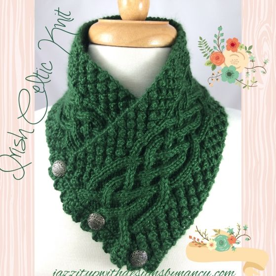 Celtic Trinity Knot Knitting Pattern : Beautiful Irish knit scarves with cables and Irish knot, Trinity stitch, vint...
