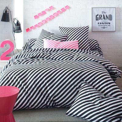 Dekbedovertrek met roze en witte strepen LOLLY