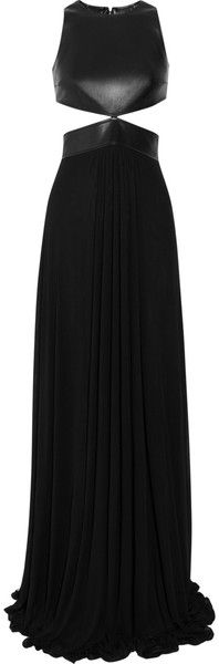 MICHAEL KORS Cutout Leather and Stretch Jersey Gown