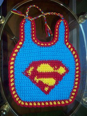I love the use of color in this crochet baby bib. Superman baby bib - Media - Crochet Me: