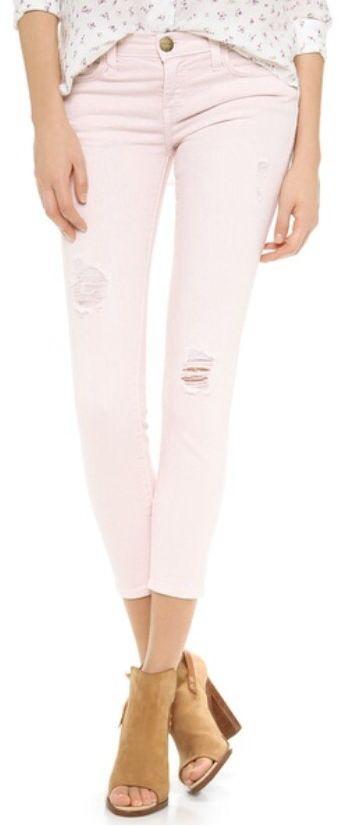 Current Elliott pink denim jean with rips