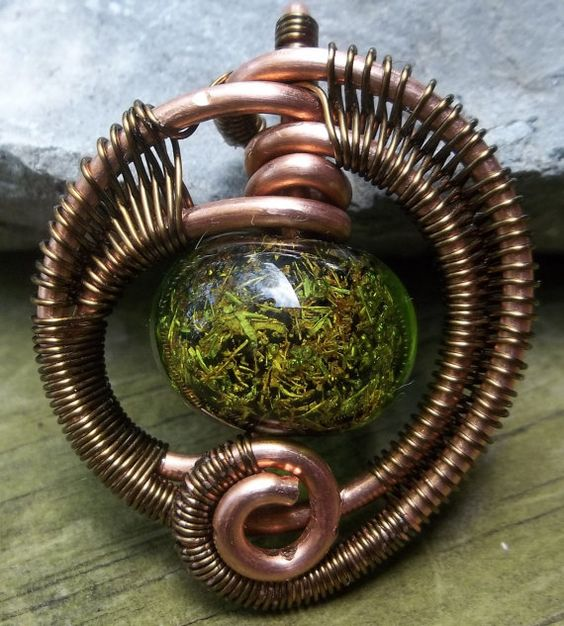 UPCYCLED Lampwork Bead and Wire Wrapped by alexart on Etsy, $25.00
