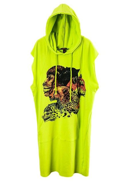 Green Drawstring Hooded Sleeveless Animal Printing Dress