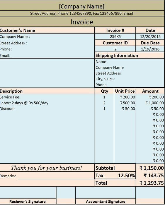 Download Excel Format of Tax Invoice in GST GST - Goods and - salary invoice template