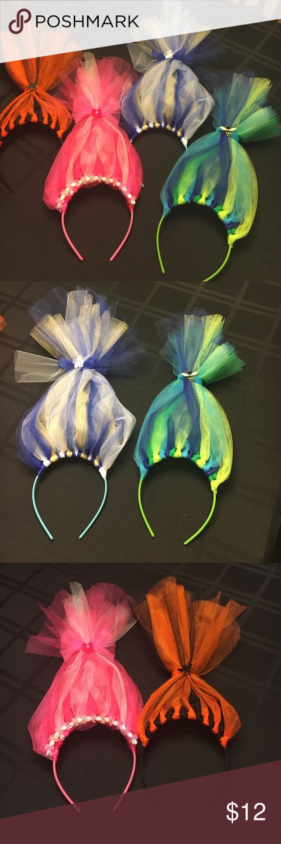 "Troll Hair Headbands Handcrafted ""Troll Hair"" tulle headbands are custom and made to order. Message me with color and decor requests  $12 each Accessories Hair Accessories:"