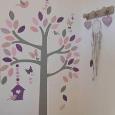 sur commande stickers arbre oiseaux nichoir papillons rose parme violine gris - Chambre Fille Gris Et Parme