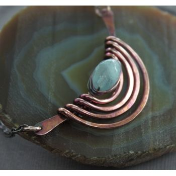 Tribal style copper necklace with aquamarine stone nugget on chain