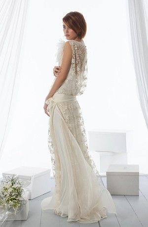 Bridal Gowns: Le Spose di Gio Sheath Wedding Dress with Illusion Neckline and Dropped Waist Waistline