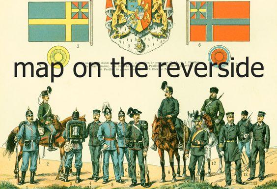 1897 Suède & Norvège Uniformes, Carte et Drapeaux, Planche Originale, Larousse Grand Format, Illustration 115 ans d'âge de la boutique sofrenchvintage sur Etsy